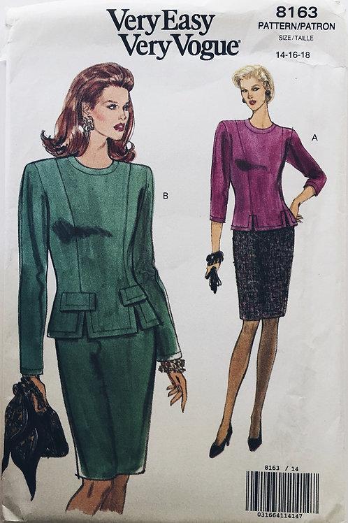 Vogue 8163 Work wardrobe top and skirt