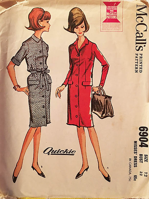 McCall's 6904 Retro 1960s shirt dess pattern