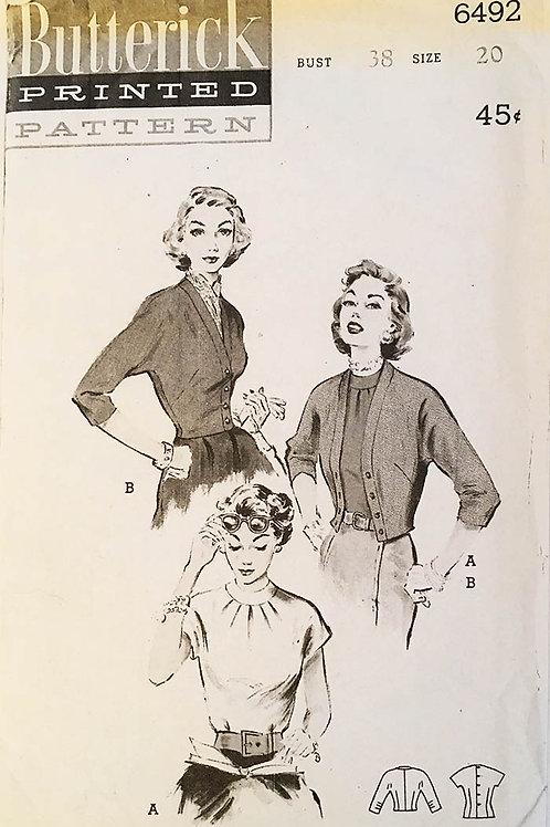 Butterick 6492.Very retro 1950s twinset