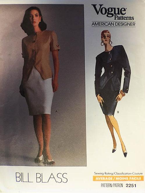 Vogue 2251 Designer Bill Blass faux power suit