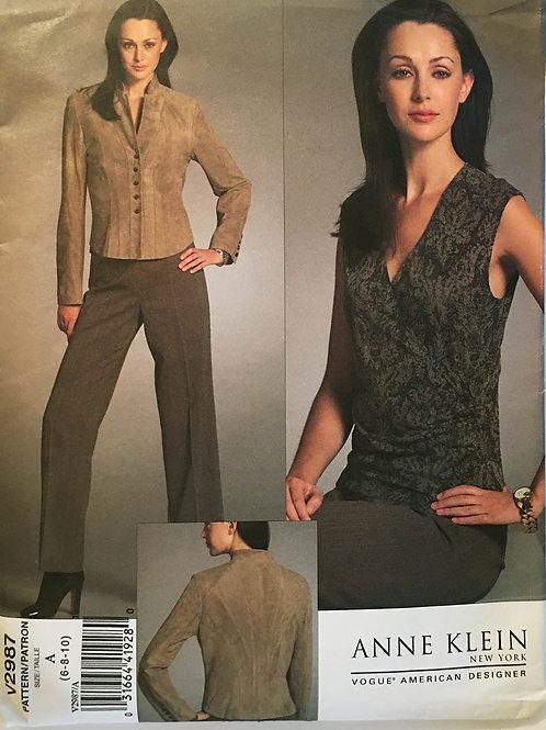 Vogue Designer 2987. Anne Klein designed Jacket, Top, Pants.