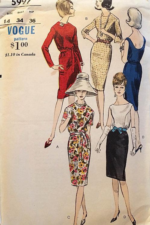 Vogue 5997. Retro 1960s wiggle dress.
