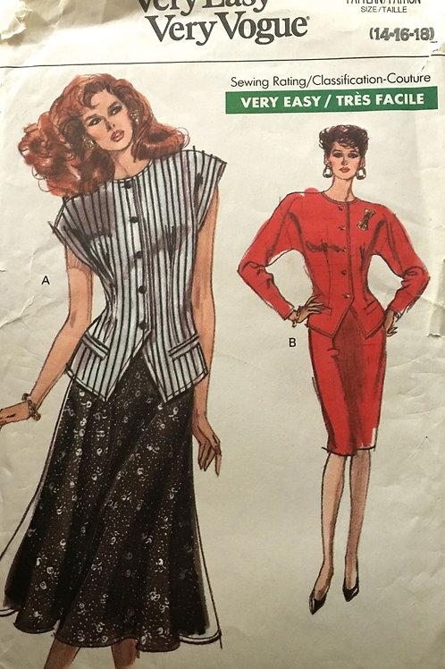 Vogue 7494. Ladies 80s Jacket, Vest and Skirt options