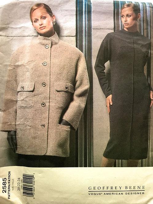 Vogue 2585 American designer Geoffrey Beene car coat