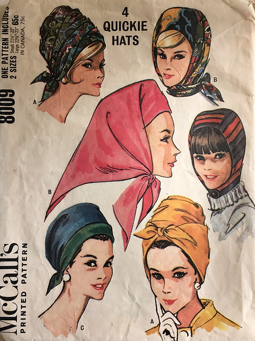 McCalls 9008, four fast hats, scarf and turban