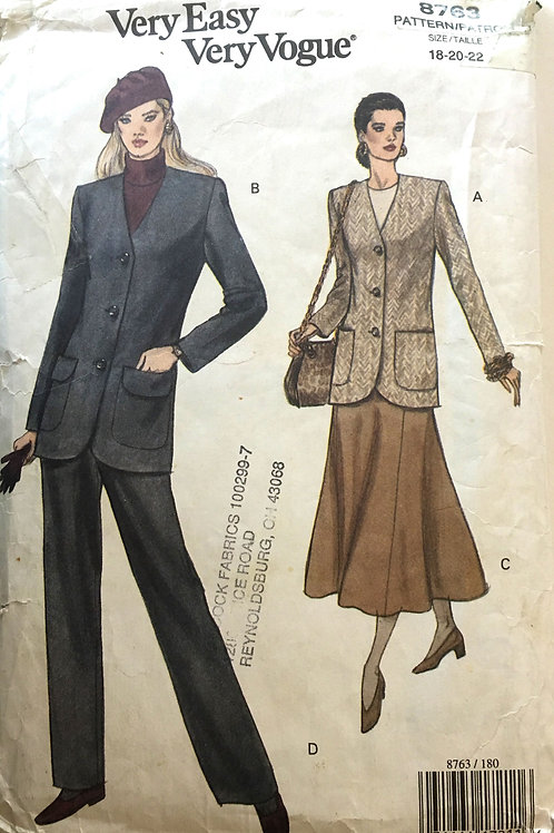 Vogue 8768. Long V-neck jacket, skirt and pants