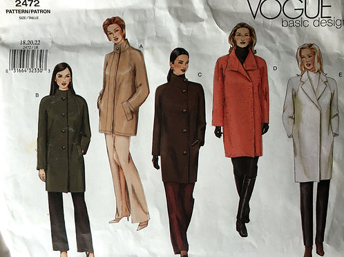 Vogue 2472 Basic Design. Car Coat