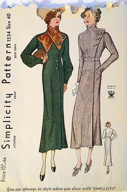 Simplicity 1534. Rare 1930's coat patterns, Plus Size