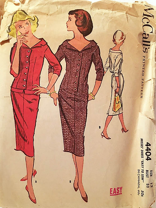 McCall's 4404 retro 1950's easy to sew wiggle dress