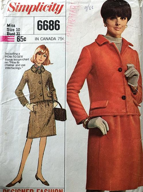 Simplicity 6686 designer suit 60s