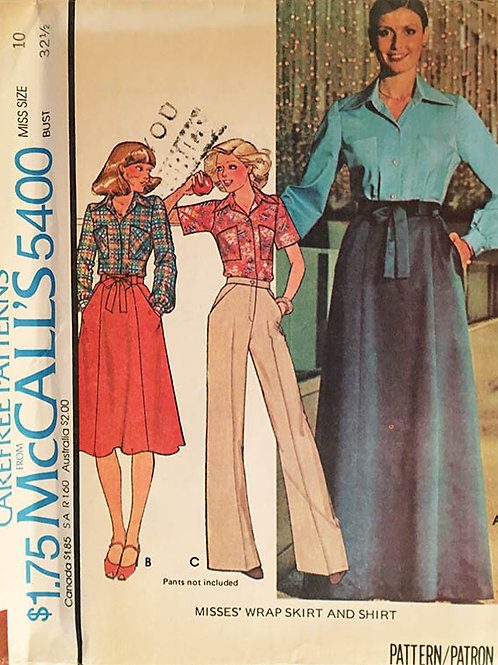 McCall's 5400, retro 1974 wrap skirt and casual shirt