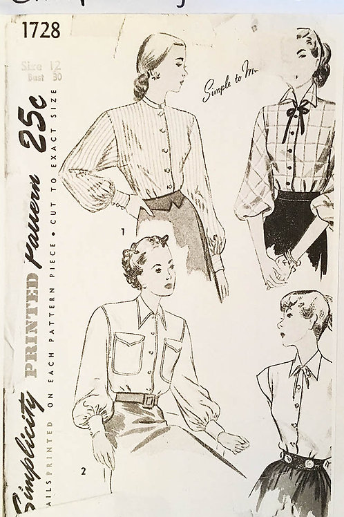 Simplicity 1728. four vintage 1950s button front shirts.