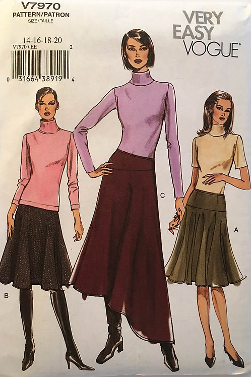 Vogue 7970. Flowing skirts with Asymmetrical hemlines and Yokes