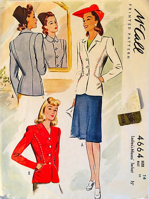 McCall 4664 - War era - 1942 original vintage ladies suit