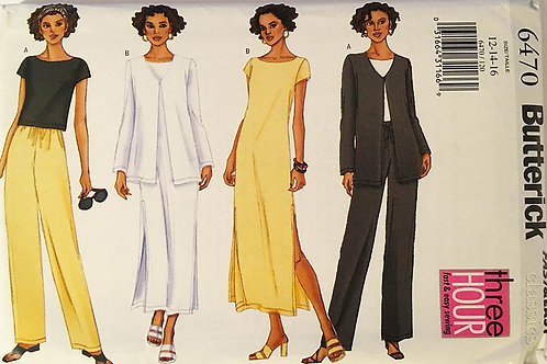 Butterick 6470. casual Separates: top, dress, jacket and pants