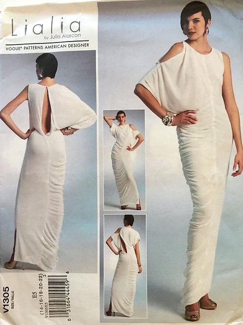 Vogue 1305  Designer bias draped long down