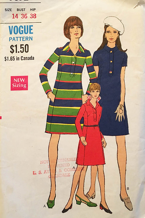 Vogue 7372. Polo style knit dress from the 1960s.