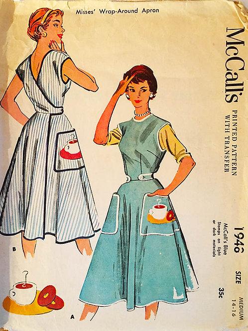 McCall's 1946. Circa 1940s Women's wraparound apron.