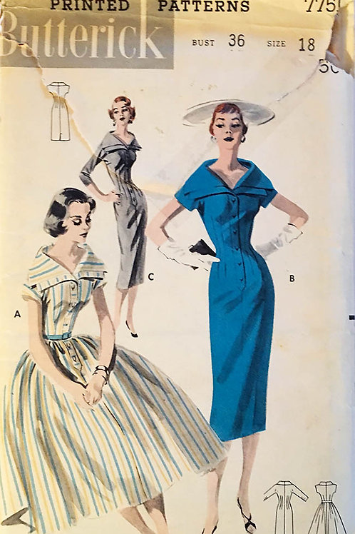 Butterick 7751, Buttonfront 1950s dress with two skirt