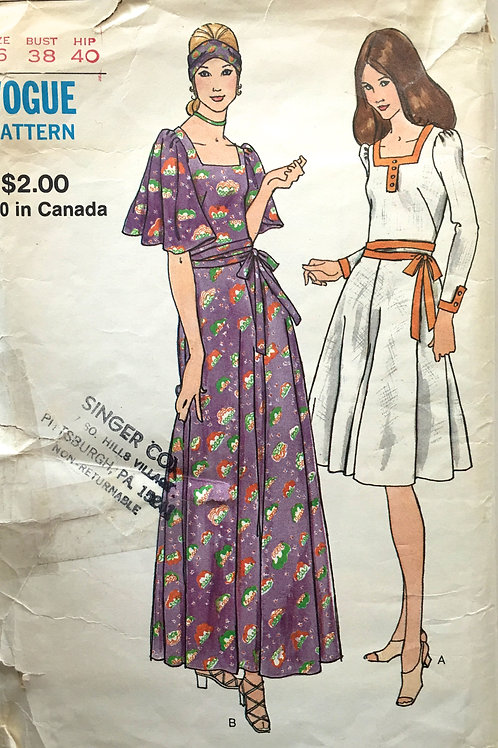Vogue 6065 retro 1970s dresses, butterfly sleeve option