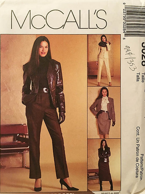 McCall's 3028. Wardrobe w/ Fitted, lined blazer with peak collar.