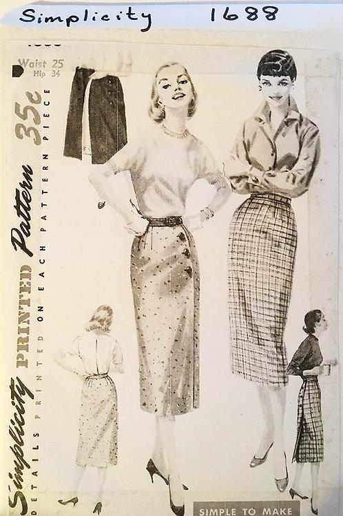 Simplicity 1688 retro 1950s pencil skirt patterns