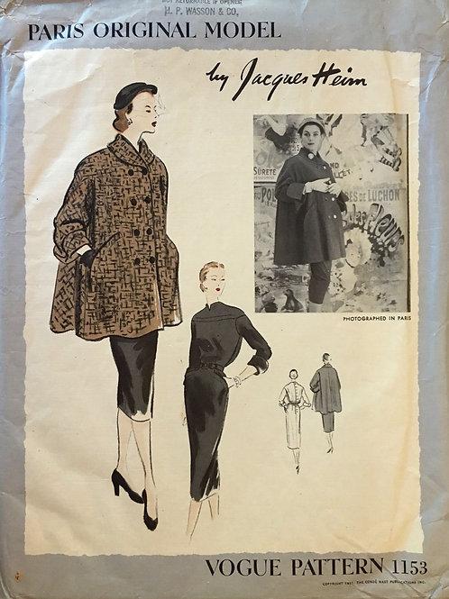 Vogue 1153 Jacque Heim Paris Original Model. Swing coat, dress