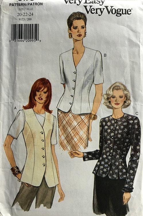 Vogue 9173. Plus size button front tops.
