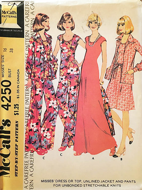 McCall's 4250 circa 1970s Jacket, maxi dress, and wide flared pants. Forknits.