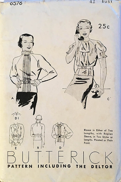 Butterick 6576 Rare 1930s tunic blouses in several styles, XL