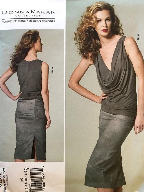 Vogue 1282 Donna Karan draped bias cowl top