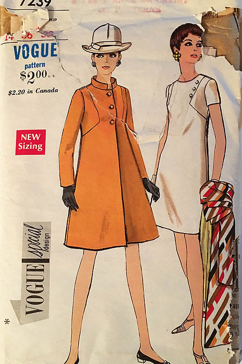 Vogue Special Design 7239. Retro 1960s coat and dress. Large size.