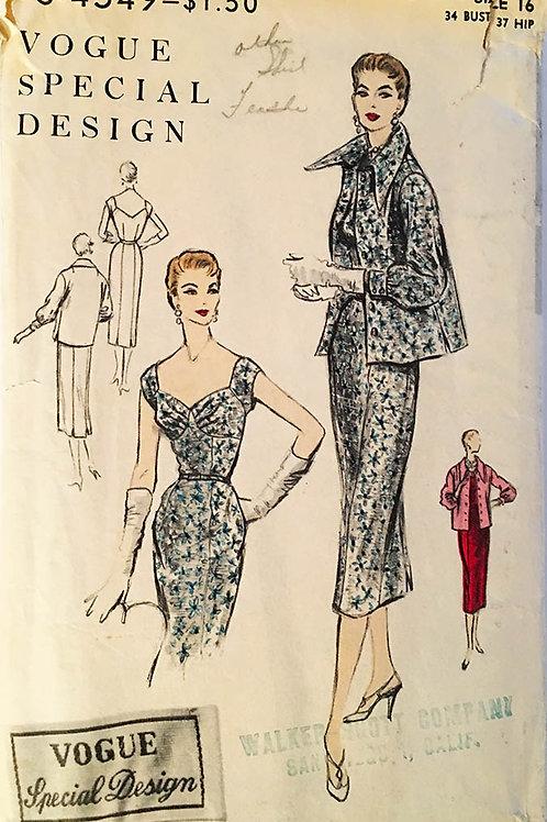 Vogue Special Design S-4549; RARE vintage 1954 Dress and Jacket.