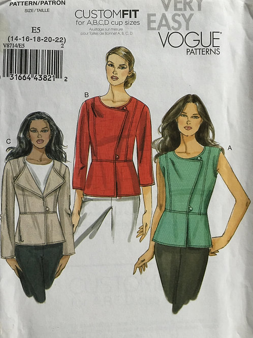 Vogue 8714 paneled jacket variations