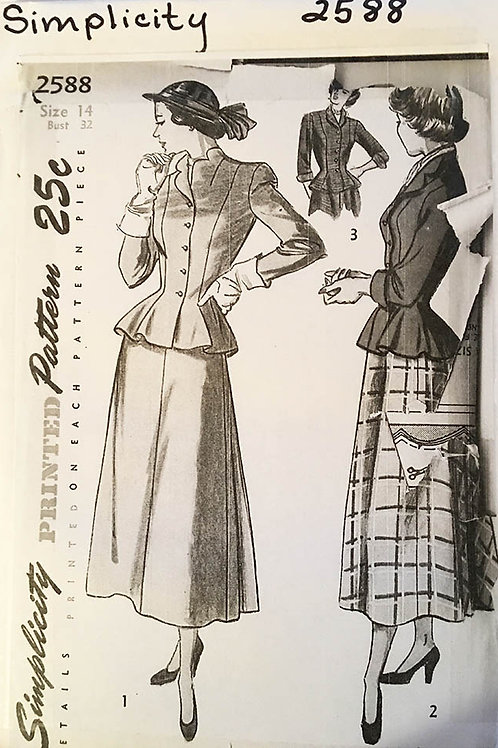 Simplicity 2588. Vintage 1940s two piece dress pattern. Peplum.