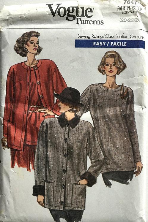 Vogue 7647 Classic cardigan sets. Plus size.