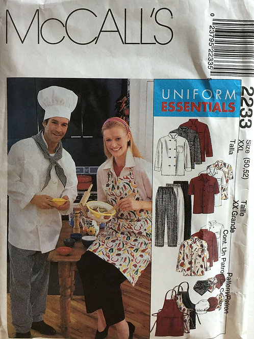 McCalls 2233 chefs attire, jackets, pants, hat