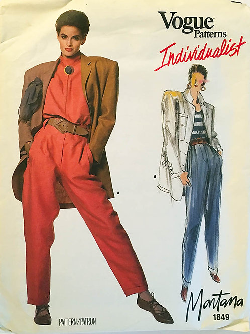 Vogue Individualist 1849. Claude Montana. Tres Cool Jacket and pants!