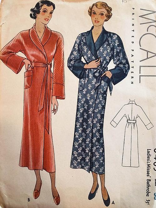 McCall 8411. RARE Vintage 1930s wrap style robe