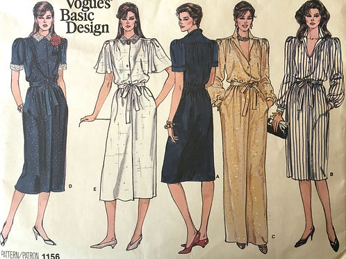 Vogue 1156 Basic Design. Four shirtdress designs