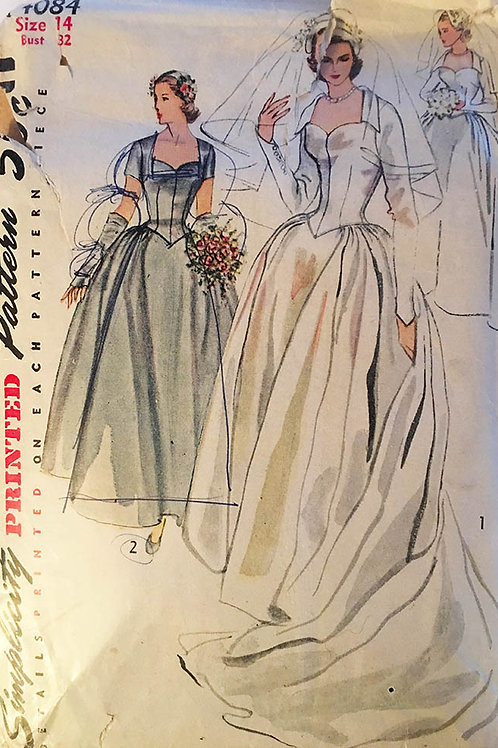 1950's Simplicity 4084 Sewing Pattern Bridal Gown and Bridesmaid Dress.