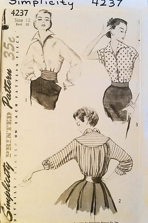 Simplicity 4237 was designed in 1953. Blouse variations