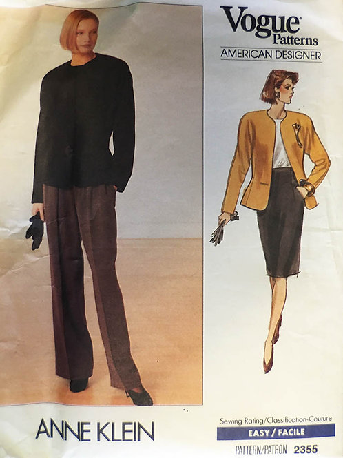 Vogue 2355 American DesignerAnne Klein jacket, pants