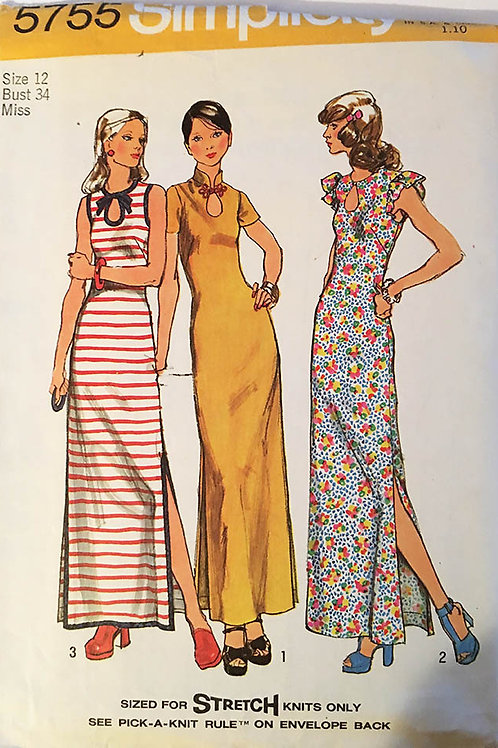 Simplicity 5755 three 1970s long knit dress patterns.