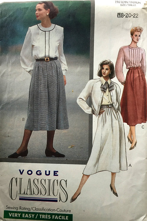 Vogue Classics 7675, Plus size full skirt with pockets, waistband