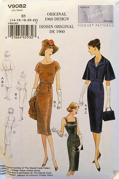 Vogue Vintage Model 9082. Retro 1960 dresses and fitted jacket.