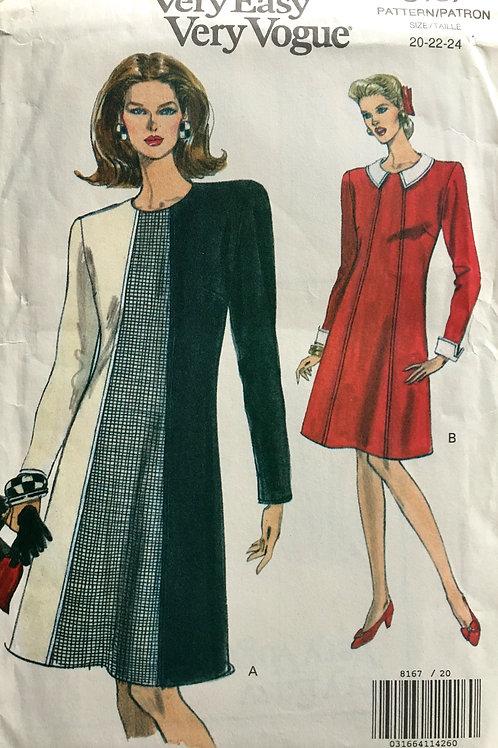 Vogue 8167 Plus size dress with panel detail