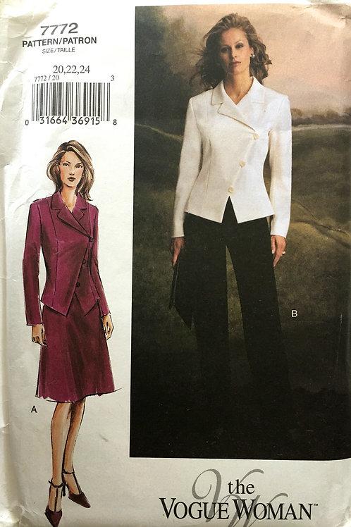 Vogue Woman 7772. Diagonal close jacket, skirt, pants