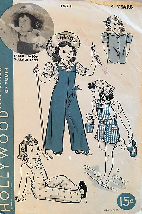 Hollywood 1571 Children's overalls circa 1930s.