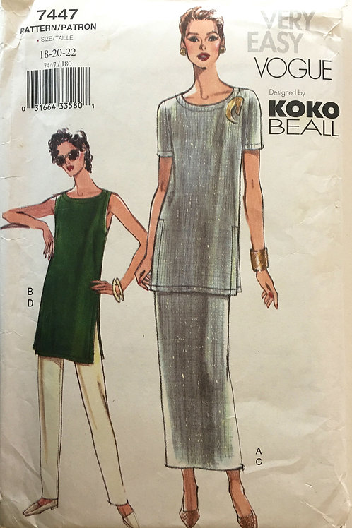 Vogue 7447 Koko Beall Long tunic and pants, Plus Size